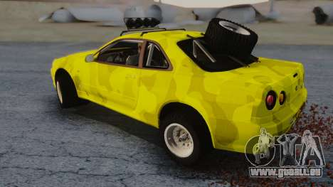 Nissan Skyline R34 Rusty Rebel für GTA San Andreas zurück linke Ansicht