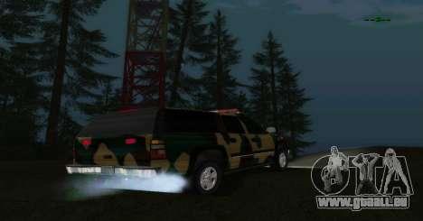 Chevrolet Suburban Camouflage pour GTA San Andreas sur la vue arrière gauche