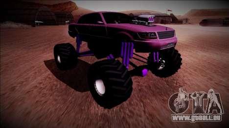 GTA 4 Washington Monster Truck pour GTA San Andreas sur la vue arrière gauche