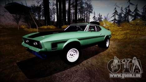 1971 Ford Mustang Rusty Rebel pour GTA San Andreas sur la vue arrière gauche