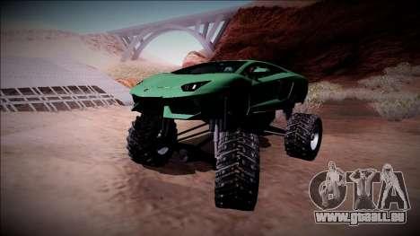 Lamborghini Aventador Monster Truck für GTA San Andreas obere Ansicht