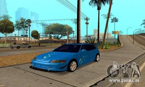 Honda Civic EG6 Tunable pour GTA San Andreas vue arrière