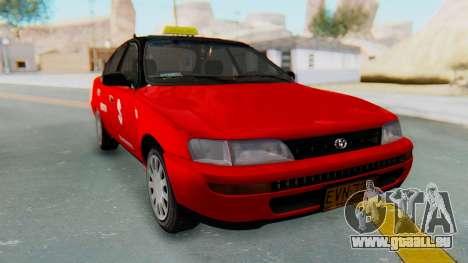 Toyota Corolla Dollar Taxi pour GTA San Andreas sur la vue arrière gauche