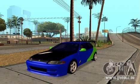 Honda Civic EG6 Tunable pour GTA San Andreas sur la vue arrière gauche