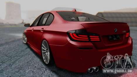 BMW M5 2012 Stance Edition für GTA San Andreas zurück linke Ansicht