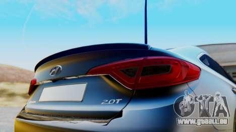 Hyundai Sonata Turbo 2015 pour GTA San Andreas vue arrière
