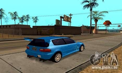 Honda Civic EG6 Tunable pour GTA San Andreas vue intérieure