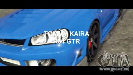 GTA 5 Nissan Skyline R34 Tommy Kaira hinten rechts