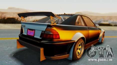 GTA 5 Karin Sultan RS Carbon IVF pour GTA San Andreas sur la vue arrière gauche
