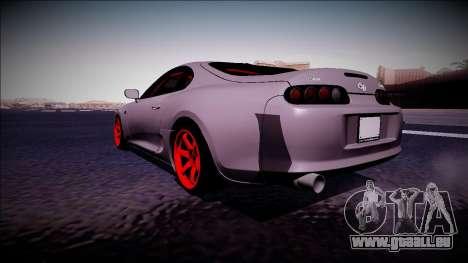 Toyota Supra Drift Monster Energy pour GTA San Andreas sur la vue arrière gauche