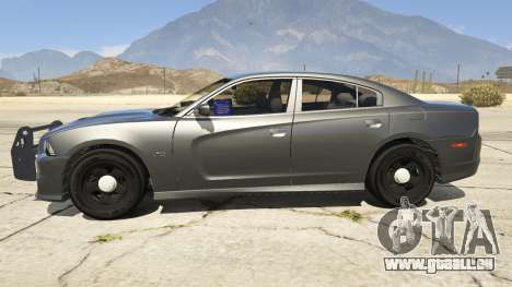 GTA 5 2012 Unmarked Dodge Charger vue latérale gauche