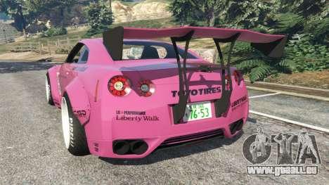 GTA 5 Nissan GT-R (R35) [LibertyWalk] v1.1 arrière vue latérale gauche