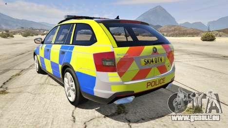 GTA 5 2014 Police Skoda Octavia VRS Estate arrière vue latérale gauche