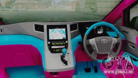 Toyota Vellfire Miku Pocky Exhaust pour GTA San Andreas vue arrière