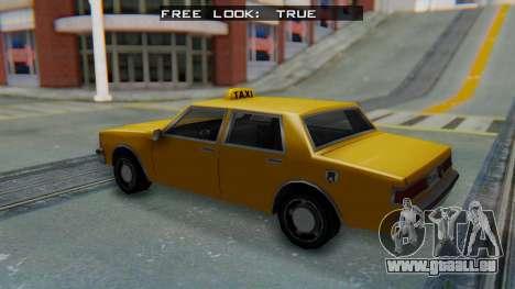 Taxi Version of LV Police Cruiser pour GTA San Andreas sur la vue arrière gauche