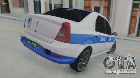 Dacia Logan Iranian Police pour GTA San Andreas sur la vue arrière gauche
