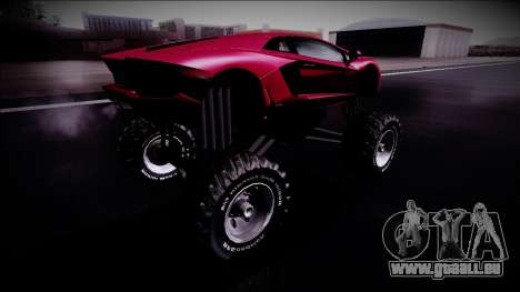 Lamborghini Aventador Monster Truck für GTA San Andreas zurück linke Ansicht