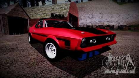 1971 Ford Mustang Rusty Rebel pour GTA San Andreas vue de côté