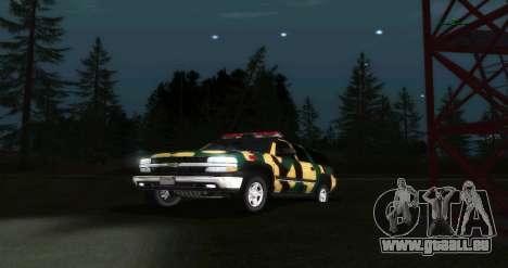 Chevrolet Suburban Camouflage pour GTA San Andreas vue arrière