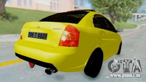 Hyundai Accent Era pour GTA San Andreas sur la vue arrière gauche