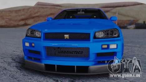 Nissan Skyline R34 Full Tuning für GTA San Andreas rechten Ansicht