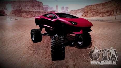 Lamborghini Aventador Monster Truck für GTA San Andreas Rückansicht