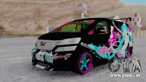 Toyota Vellfire Miku Pocky Exhaust pour GTA San Andreas