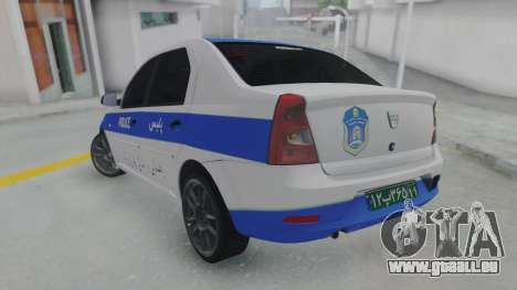 Dacia Logan Iranian Police pour GTA San Andreas laissé vue