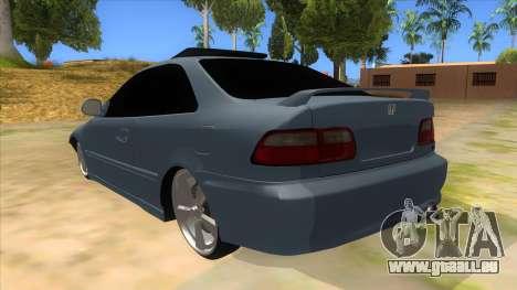 Honda Civic Coupe 1995 pour GTA San Andreas sur la vue arrière gauche