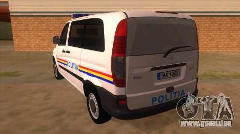 Mercedes Benz Vito Romania Police für GTA San Andreas zurück linke Ansicht