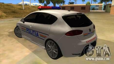 Seat Leon Cupra Romania Police für GTA San Andreas zurück linke Ansicht