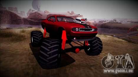 2009 Dodge Challenger SRT8 Monster Truck für GTA San Andreas Rückansicht