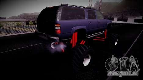 2003 Chevrolet Suburban Monster Truck für GTA San Andreas zurück linke Ansicht