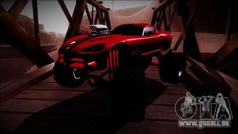 Dodge Viper SRT10 Monster Truck pour GTA San Andreas vue arrière