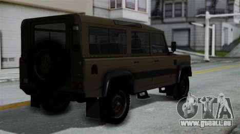 Land Rover Defender Vojno Vozilo für GTA San Andreas linke Ansicht