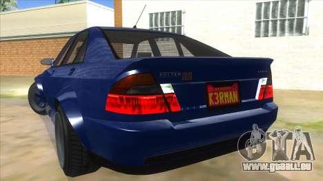 GTA V Karin Sultan RS 4 Door pour GTA San Andreas vue de dessous