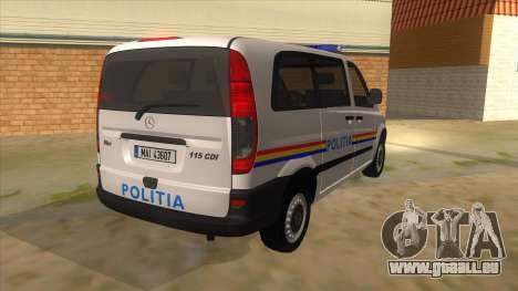 Mercedes Benz Vito Romania Police für GTA San Andreas rechten Ansicht
