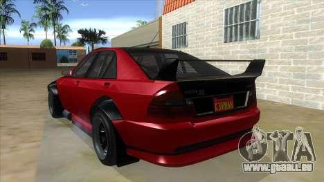 GTA V Karin Sultan RS 4 Door für GTA San Andreas zurück linke Ansicht