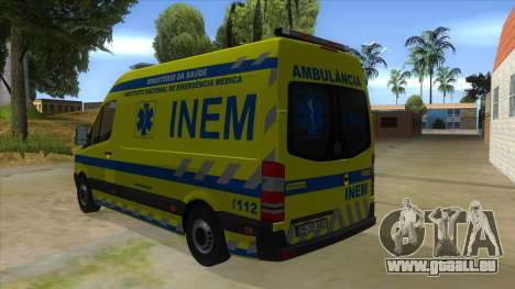 Mercedes-Benz Sprinter INEM Ambulance für GTA San Andreas zurück linke Ansicht