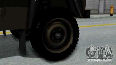 Land Rover Defender Vojno Vozilo für GTA San Andreas zurück linke Ansicht