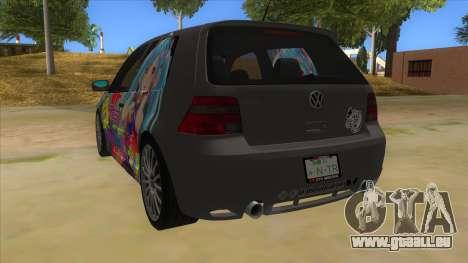 Volkswagen Golf R32 Hatsune Miku Itasha für GTA San Andreas zurück linke Ansicht