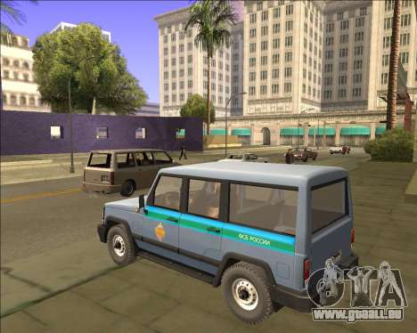 DER UAZ 3170 FSB für GTA San Andreas zurück linke Ansicht