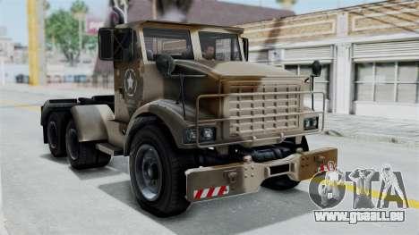 GTA 5 HVY Barracks Semi IVF pour GTA San Andreas sur la vue arrière gauche