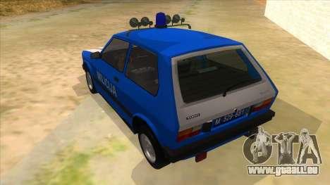 Yugo Koral Police pour GTA San Andreas sur la vue arrière gauche