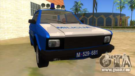 Yugo Koral Police pour GTA San Andreas vue arrière