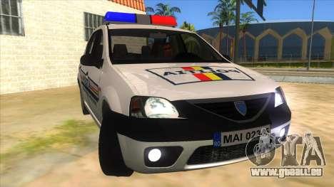 Dacia Logan Romania Police für GTA San Andreas Rückansicht