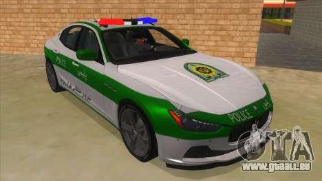 Maserati Iranian Police für GTA San Andreas Rückansicht