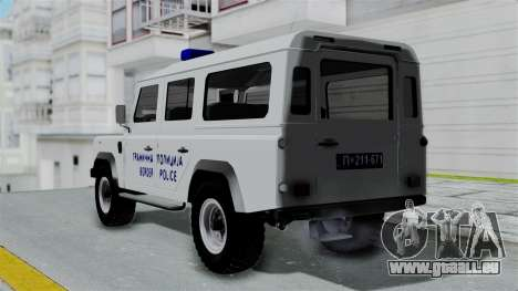 Land Rover Defender Serbian Border Police pour GTA San Andreas laissé vue