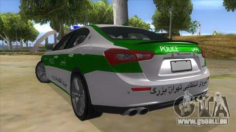 Maserati Iranian Police für GTA San Andreas zurück linke Ansicht