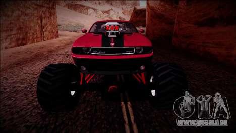 2009 Dodge Challenger SRT8 Monster Truck für GTA San Andreas Unteransicht